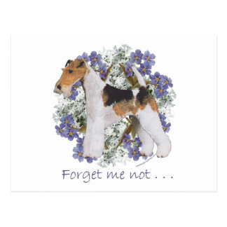 Wire Fox Terrier Forget-Me-Not Postcard