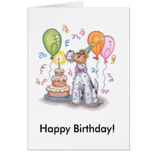 Wire fox terrier Happy Birthday Card w/ Envelope