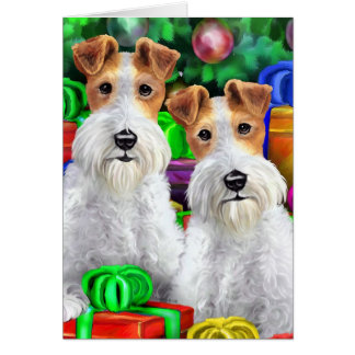 Wire Fox Terrier Open Gifts Christmas Greeting Card