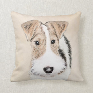 Wire Fox Terrier Painting - Cute Original Dog Art Cushion