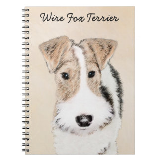 Wire Fox Terrier Painting - Cute Original Dog Art Notebook
