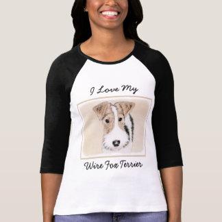 Wire Fox Terrier Painting - Cute Original Dog Art T-Shirt