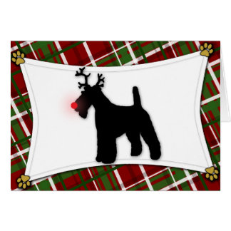 Wire Fox Terrier Reindeer Christmas Card