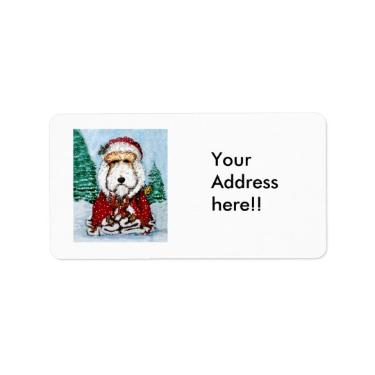 Wire Fox Terrier Santa Label