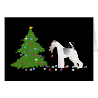 Wire Fox Terrier Silhouette Christmas Design Card