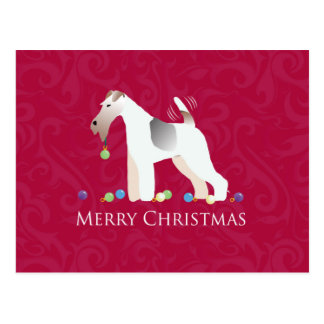 Wire Fox Terrier Silhouette Christmas Design Postcard