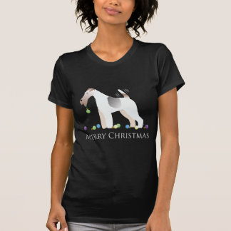 Wire Fox Terrier Silhouette Christmas Design Tee Shirts