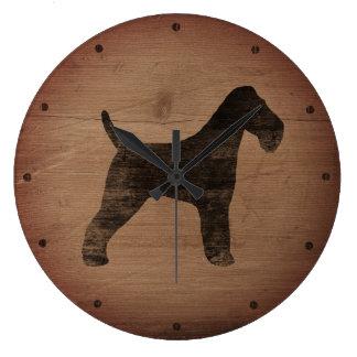 Wire Fox Terrier Silhouette Rustic Wall Clocks
