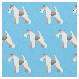 Wire Fox Terrier Silhouette Tiled Fabric