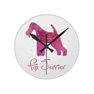 Wire Fox Terrier Silhouette Watercolor Design Round Wall Clock