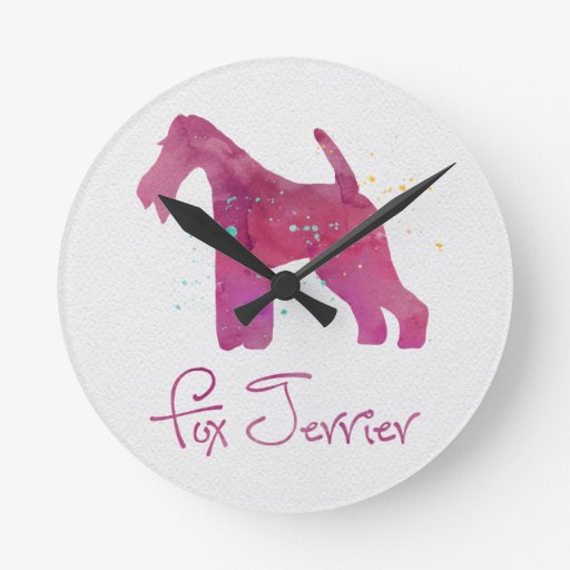 Wire Fox Terrier Silhouette Watercolor Design Round Wall Clock