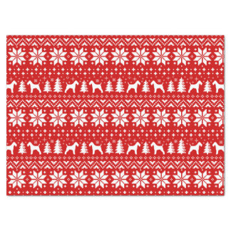 Wire Fox Terrier Silhouettes Christmas Pattern Tissue Paper
