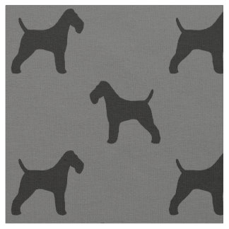 Wire Fox Terrier Silhouettes Pattern Fabric