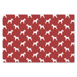 """Wire Fox Terrier Silhouettes Pattern Red 10"""" X 15"""" Tissue Paper"""