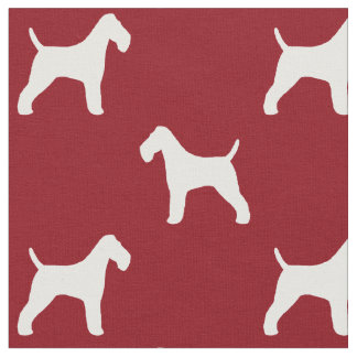 Wire Fox Terrier Silhouettes Pattern Red Fabric