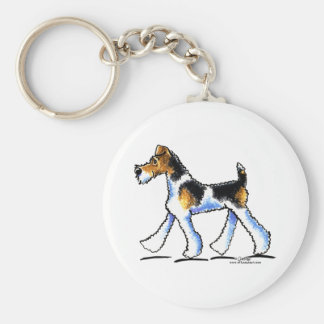 Wire Fox Terrier Trot Basic Round Button Key Ring