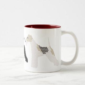 Wire Fox Terriers silhouettes / shadows Two-Tone Coffee Mug