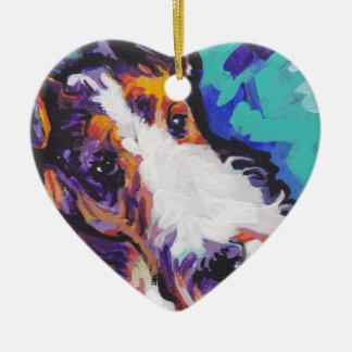 Wire hair Fox Terrier Bright Colorful Pop Dog Art Ceramic Ornament