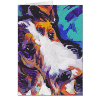 Wire hair Fox Terrier Bright Colorful Pop Dog Art Greeting Card