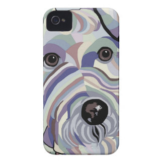 Wire Hair Fox Terrier in Denim Colors iPhone 4 Cover