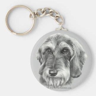 Wire-Haired Dachshund Basic Round Button Key Ring