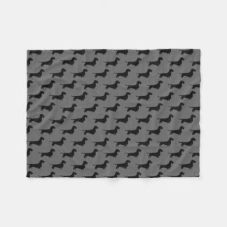 Wire Haired Dachshund Silhouettes Pattern Fleece Blanket