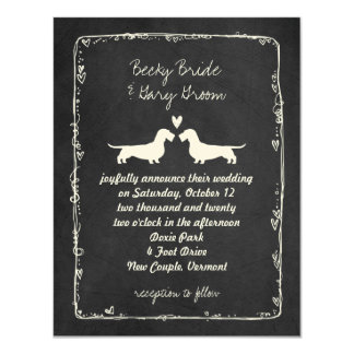 Wire Haired Dachshund Silhouettes Wedding 11 Cm X 14 Cm Invitation Card