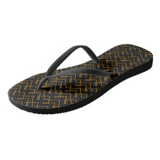 Wired Black-Gold Flip Flops
