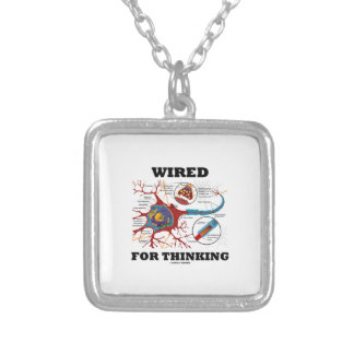 Wired For Thinking (Neuron Synapse) Square Pendant Necklace
