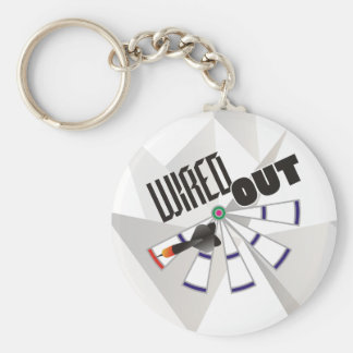 Wired Out Darts Team Basic Round Button Key Ring