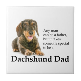 Wirehaired Dachshund Dad Tile Coaster
