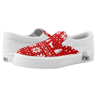 Wirehaired Dachshund Silhouettes Christmas Pattern Slip On Shoes