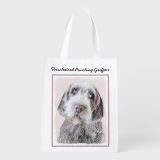 Wirehaired Pointing Griffon Painting - Dog Art Reusable Grocery Bag