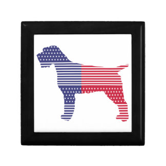 Wirehaired Pointing Griffon Patriotic Dog Red Blue Gift Box