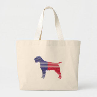 Wirehaired Pointing Griffon Patriotic Dog Red Blue Large Tote Bag