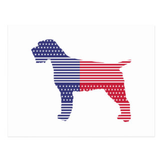 Wirehaired Pointing Griffon Patriotic Dog Red Blue Postcard