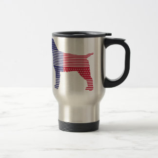 Wirehaired Pointing Griffon Patriotic Dog Red Blue Travel Mug