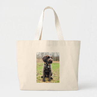 Wirehaired pointing Griffon puppy Large Tote Bag