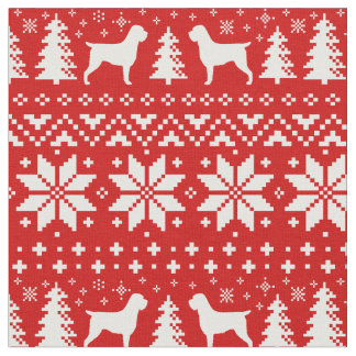 Wirehaired Pointing Griffons Christmas Pattern Red Fabric