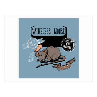 Wireless Mouse ~ Funny New Geek Gift Postcard