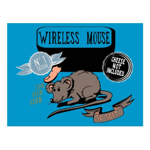 Wireless Mouse ~ Funny New Geek Gift Postcards