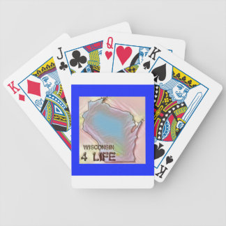 """""""Wisconsin 4 Life"""" State Map Pride Design Bicycle Playing Cards"""