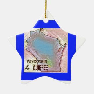"""Wisconsin 4 Life"" State Map Pride Design Ceramic Ornament"