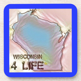 """Wisconsin 4 Life"" State Map Pride Design Coasters"