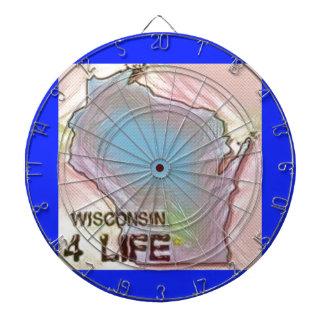 """Wisconsin 4 Life"" State Map Pride Design Dart Board"