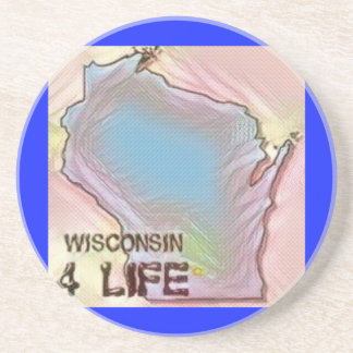 """Wisconsin 4 Life"" State Map Pride Design Drink Coasters"