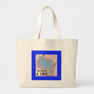 """Wisconsin 4 Life"" State Map Pride Design Large Tote Bag"
