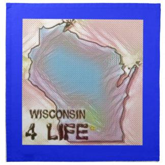 """Wisconsin 4 Life"" State Map Pride Design Napkin"