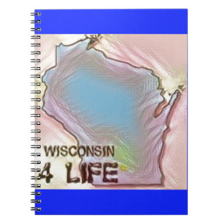 """Wisconsin 4 Life"" State Map Pride Design Notebooks"