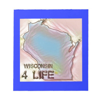 """Wisconsin 4 Life"" State Map Pride Design Notepad"